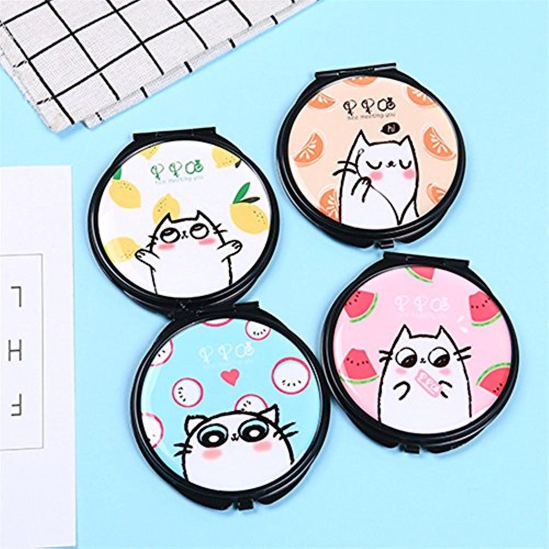 HuaQingPiJu-JP ミニラウンド漫画ウサギのパターン小さなガラスミラーサークル工芸装飾化粧品アクセサリー