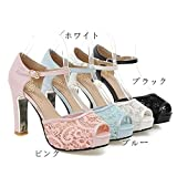 ラコステ 靴 サンダル OL レディース ヒール9.5cm パーティー シューズ 靴 太いヒール サンダル 小さいサイズ 大きいサイズ 結婚式 美脚サンダル サンダル ホワイト ブラック ピンク ブルー