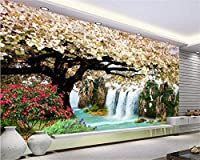 Weaeo 壁紙自然の滝桜の風景3Dリビングルームソファの背景の装飾3Dの壁紙-250X175Cm
