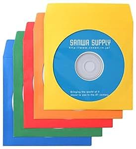 サンワサプライ DVD・CDペーパースリーブケース 1枚収納 5色ミックス 100枚入り FCD-PS100MXN