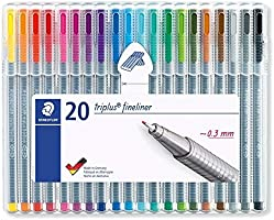 Staedtler 334 SB20US ergonomic triangular barrel, for writing, drawing and coloring triplus fineliner, Multicolor, 0.3mm...