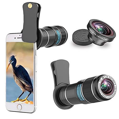 スマホレンズ スマホ望遠レンズ+180°魚眼レンズ 単眼鏡12倍携帯用望遠レンズセット[光学] iPhoneXS Max/XS/XR/X/8/8 plus/7/7 Plus/6/6S,Xperiaなど対応できる スマートフォン用クリップ式レンズ【 軽量 高画質】