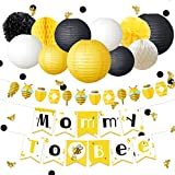 NICROLANDEE Honeybee Baby Shower Decorations Mommy To Bee Card Banner Garland Hanging Paper Lanterns Round Honeycomb Ball Gold Glitter Bumble Bee Confetti for Yellow Black Pregnant Mom Shower Decor