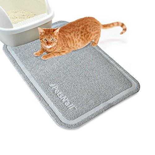 PetsN'all キャッチオールトイレマット グレー 約60×89cm 猫用トイレをすっぽりカバーできるラージサイズ 猫砂の飛び散りを防止する砂取りマット 簡単クリーニング