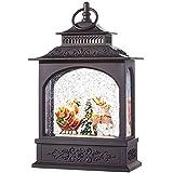 Lightedサンタクロースとソリクリスマス水雪Glitter Globeランタン装飾、11インチ、電池式withタイマー