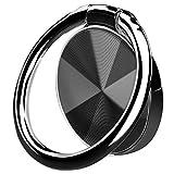 スマホリング ホールドリング 薄型 おしゃれ 指輪リング スタンド機能 落下防止 車載ホルダー 360°回転 iPhone/iPad/Androidなど各種対応 (ブラック)
