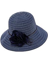 (デマ―クト)De.Markt レディース ハット 帽子 ストライプ 花 つば広 大きいサイズ 通気性抜群 女優帽 漁師 アウトドア 野外フェス