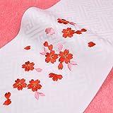 日本製 子供用 刺繍半衿(半襟) 白 桜柄1 七五三 結婚式 3歳 7歳 半襟