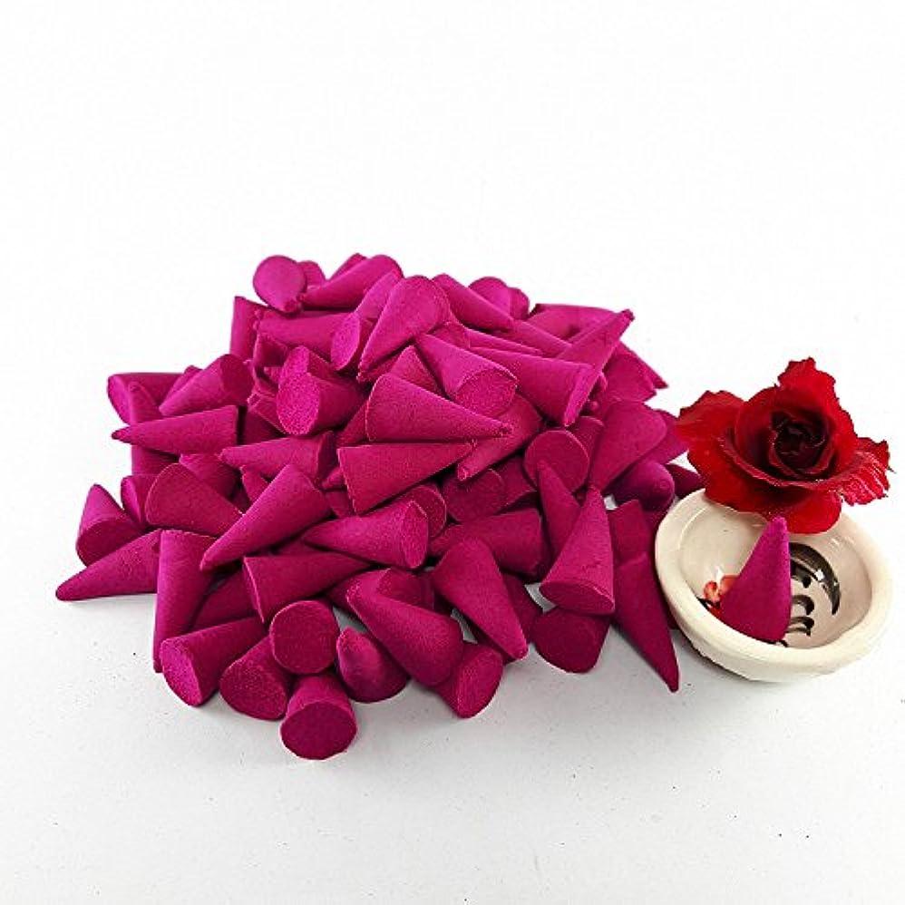 幸運なサイレント深いローズお香ローズの香りリラックスアロマテラピーSpa (パックof 100 Cones )