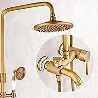 LJ ヨーロッパスタイルのレトロな蛇口の壁のマウントセラミックベースの浴室すべての青銅のシャワーセット