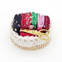 【Odoria ミニチュア雜貨】1/12 ミシン バスケット 編み物 サプライ 鋏 ハサミ セット ドールハウス