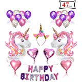 誕生日パーティーデコレーション 女の子&子供用 47ピース ピンク パープル パーティーデコレーションキット ユニコーンヘッドバンド ハッピーバースデーバナー 子供用ブローアウト 装飾メガネ ハート型ラテックスバルーン ユニコーンヘッドバルーン