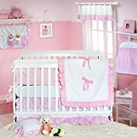 Brandream Baby Girls Crib Bedding Sets with Bumpers Cute Sweet Ruffle Baby Bedding Nursery White & Pink 11 Pieces [並行輸入品]
