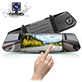 Mirror Dash Cam 1080P Full HD 7-inch IPS Touch Screen, MUSON Dual Display Front and Rear Camera 170-degree Wide-Angle with G-Sensor 24-Hour Parking Monitor Motion Detection