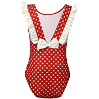 TiaoBug Girls One-piece Polka Dots Swimsuit Ruffle Bow Swimwear