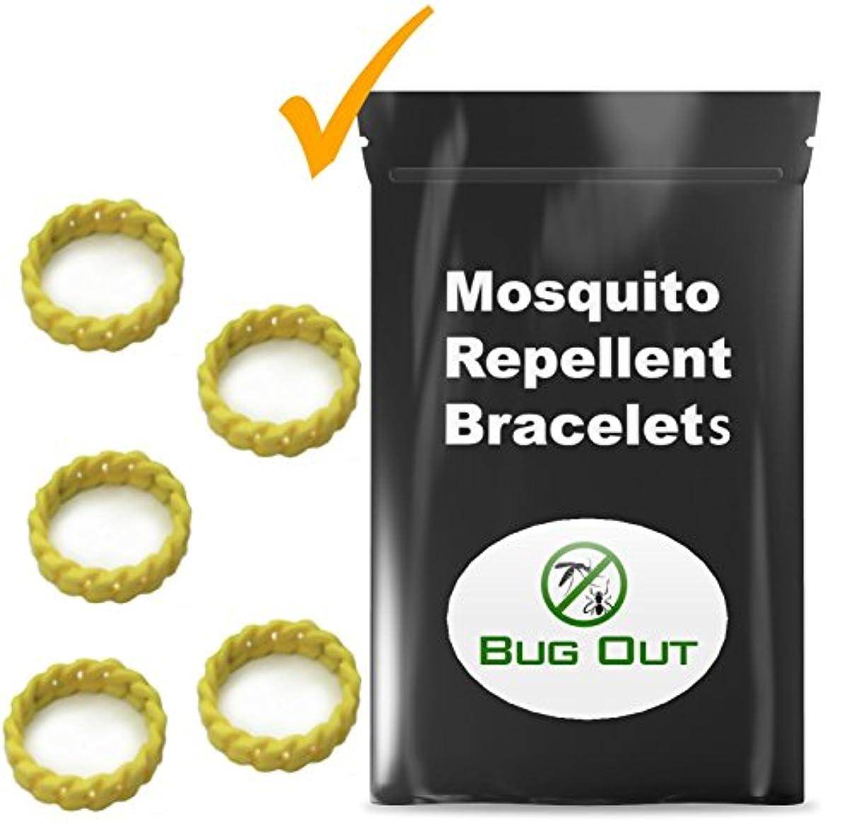 余計な監督する推測Mosquito Repellentバグバンドby :バグアウト – プレミアム撥Thickブレスレット – 5 Wristbands – すべての自然Deet Free – Perfect for Kids &大人 – Resealableパッケージ – 保証。。。