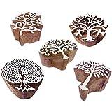 デザイナー デザイン 樹木 そして 盛り合わせ 木製ブロックスタンプ (のセット 5)