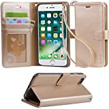 iphone 6s plus case, iPhone 6 plus case, Arae [Wrist Strap] Flip Folio [Kickstand Feature] PU leather wallet case with ID&Credit Card Pockets For iPhone 6s plus / 6 plus - champagne gold