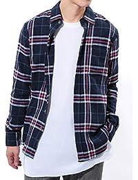 JIGGYS SHOP (ジギーズショップ) チェックシャツ メンズ 長袖 腰巻 サーフ系 ネルシャツ スリム シャツ 細身 秋服