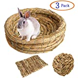 Tfwadmx Rabbit Grass Bed, Small Animal Chew Toys Woven Grass Ball Hay Mat for Bunny/Hamster/Chinchillas/Guinea Pigs/Ferret/Small Pets