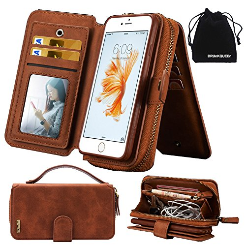 iPhone 6s Plus Case ケース, iPhone 6 Plus Case ケース, Premium Zipper Wallet Leather Detachable Magnetic Case Purse Clutch Removable Case with Black Flip Credit Card Holder Cover for iPhone 6Plus iPhone 6sPlus
