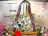 サマンサタバサ ニューヨーク ディズニー 限定 全面 ミッキー プリント A4 肩掛 トート バッグ 鞄 マザーズバッグ 通勤