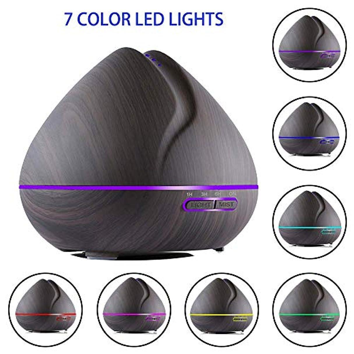 孤独失うタイピストアロマテラピーエッセンシャルオイルディフューザーウッドグレイン500ミリリットル超音波アロマクールミスト加湿器で7色ledライト/ウォーターレス自動シャットダウン/ 3タイマー設定