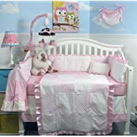 New Pink Minky Dot Chenille Baby Crib Nursery Bedding Set 13 pcs included Diaper Bag with Changing Pad & Bottle Case by SoHo Designs