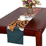 LKCDNG テーブルランナー カッコイイ 和風の虎 クロス 食卓カバー 麻綿製 欧米 おしゃれ 16 Inch X 72 Inch (40cm X 182cm) キッチン ダイニング ホーム デコレーション モダン リビング 洗える