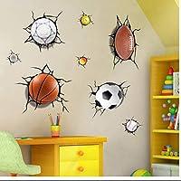 ひび割れウォールステッカー装飾的な絵画クリエイティブバスケットボールフットボールの組み合わせビニールMural3D壊れた窓の背景防水紙ひびの入った