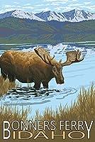 Bonnersフェリー、アイダホ–ムースと湖 12 x 18 Art Print LANT-42585-12x18