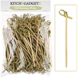 Bamboo Cocktail Picks - 300 Pack - 4.1 inch - With Looped Knot - Great for Cocktail Party or Barbeque Snacks, Club Sandwiches