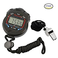 AKOAK Sports and Referee Digital Stopwatch Timer /W Bonus Stainless Steel Coach Whistle with Lanyard [並行輸入品]