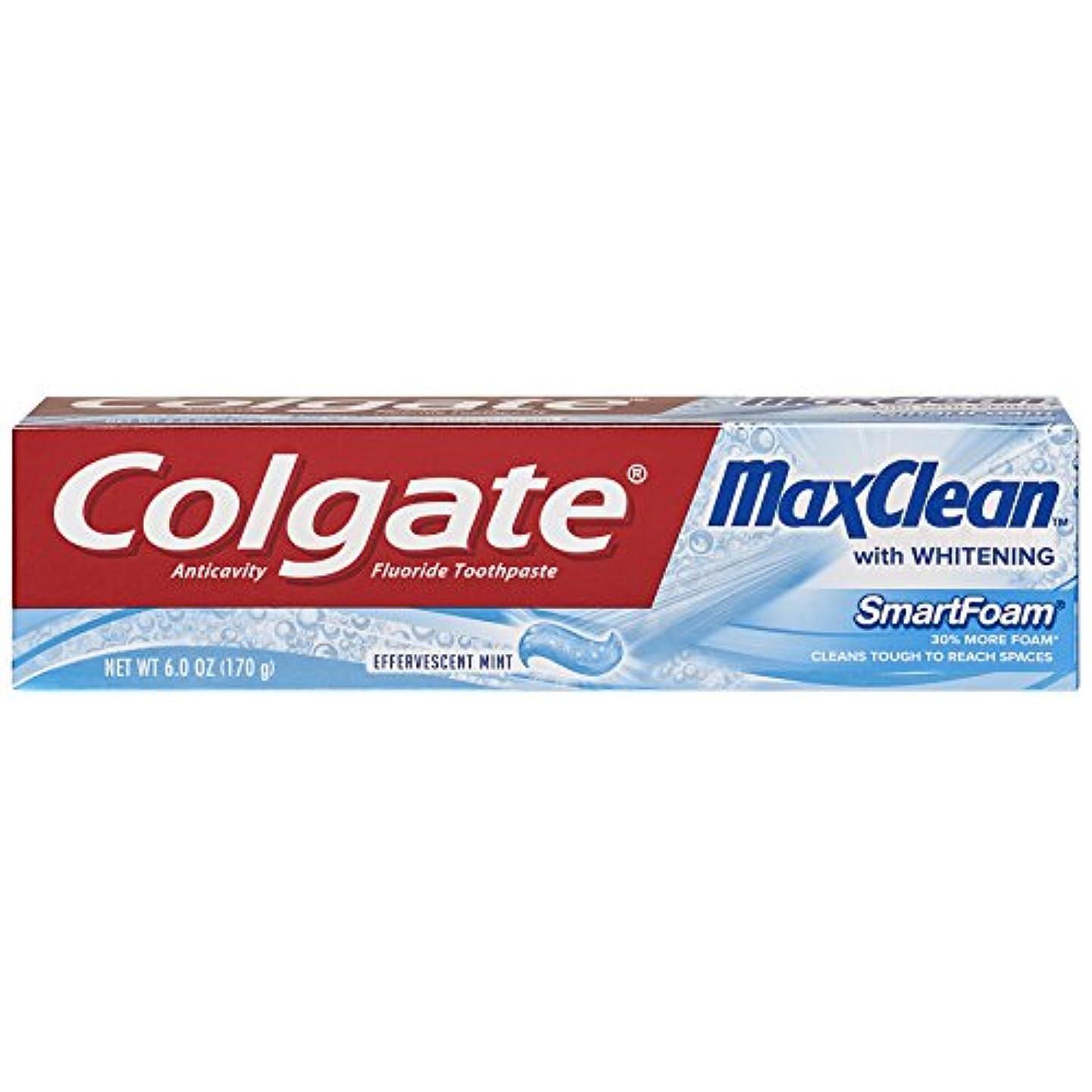 統合チケット上院Colgate ホワイトニング歯磨き、発泡ミント6オンスMaxclean SMARTFOAM(2パック)