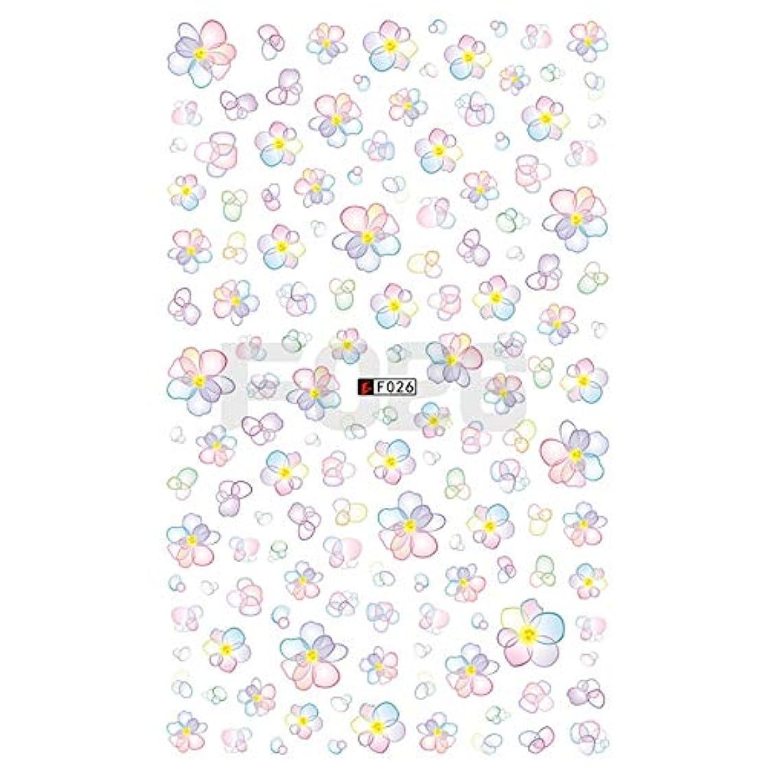 韓国語ピルコンベンションMEI1JIA CELINEZL 3 PCS 3Dネイルステッカー咲く花3Dネイルアートステッカーデカール(F199) (色 : F026)