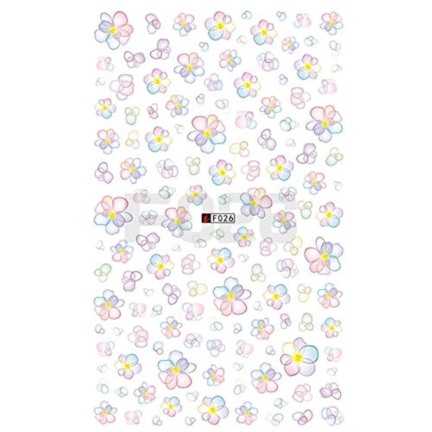 レジ統治可能北方MEI1JIA CELINEZL 3 PCS 3Dネイルステッカー咲く花3Dネイルアートステッカーデカール(F199) (色 : F026)