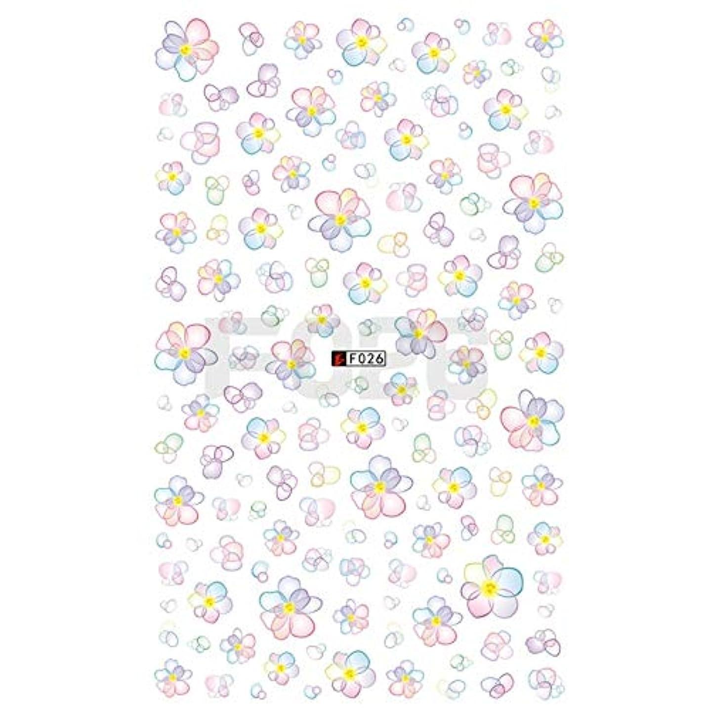 バリケードドライ端MEI1JIA CELINEZL 3 PCS 3Dネイルステッカー咲く花3Dネイルアートステッカーデカール(F199) (色 : F026)