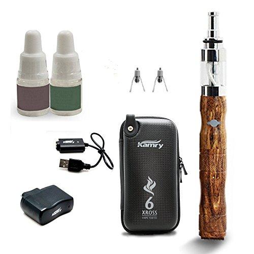 VAPE(ベイプ) X6 KAMRY社製 リキッド式 電子タバコ スターターキット (リキッド2個/取り替え用コイルユニット2個) ウッド【正規輸入品】