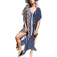 Bsubseach Women's Print Chiffon/Rayon Swimwear Turkish Kaftans Swimsuit Cover up Caftan Beach Long Dress