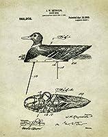 Duck Goose Call狩猟デコイ特許ポスターアート印刷Reproduction 11x 14ブラックイエローラボLabadoreコール壁装飾画像