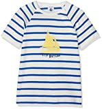 PETIT BATEAU 黄色ヨット柄入り 白地にブルーボーダーTシャツ 67cm 6ヶ月