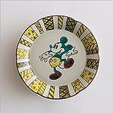 ディズニー和食器 九谷焼 580234 花形中皿 ミッキー 緑