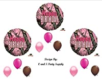 PINK MOSSY OAK Camouflage Happy Birthday Party Balloons Favours Decorations Supplies