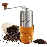 手挽きコーヒーミル 手動コーヒーミル セラミックカッター ミニコーヒーミル ステンレス 粒度調節可能 解体可能 洗いやすい コンパクト ブラウン