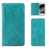 whitenuts Qua phone PX LGV33 ケース 手帳型 ベルトなし エンボスデザイン ターコイズ/小麦 スマホケース キュア フォン ピーエックス 手帳 カバー 全機種対応 WN-OD435367_L