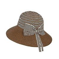 [Y-BOA] レディース 麦わら帽子 ストローハット ペーパーハット つば広 日よけ帽 スプライス 大きいなリボン エレガント アウトドア 旅行 紫外線対策 夏 コーヒー