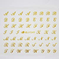 アルファベットやメッセージ柄のネイルシール (筆記体GOLD)