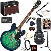 EPIPHONE エレキギター 初心者 入門 ギブソンES-335のエピフォン版 人気のVOX Pathfinder10が入った本格14点セット Dot Deluxe/AM(アクアマリン)