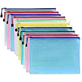 Pack of 10 Mesh Document Bag A3 Size Durable Plastic Zipper File Wallet Rope Hook Design for Paperwork Documents (A3 Size)