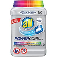 All POWERCORE Super Concentrated Laundry Detergent Pacs Plus Restores Whites and Protects Colors Tub, 50 Count by all